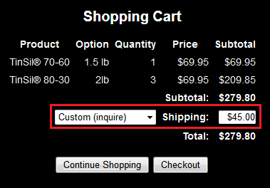 Using custom shipping in shopping cart