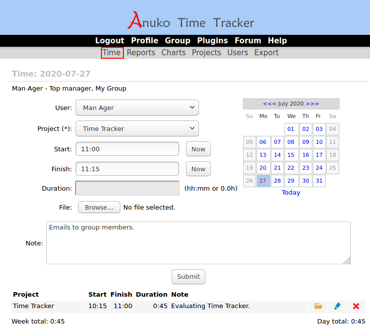 Track work time on the Time page