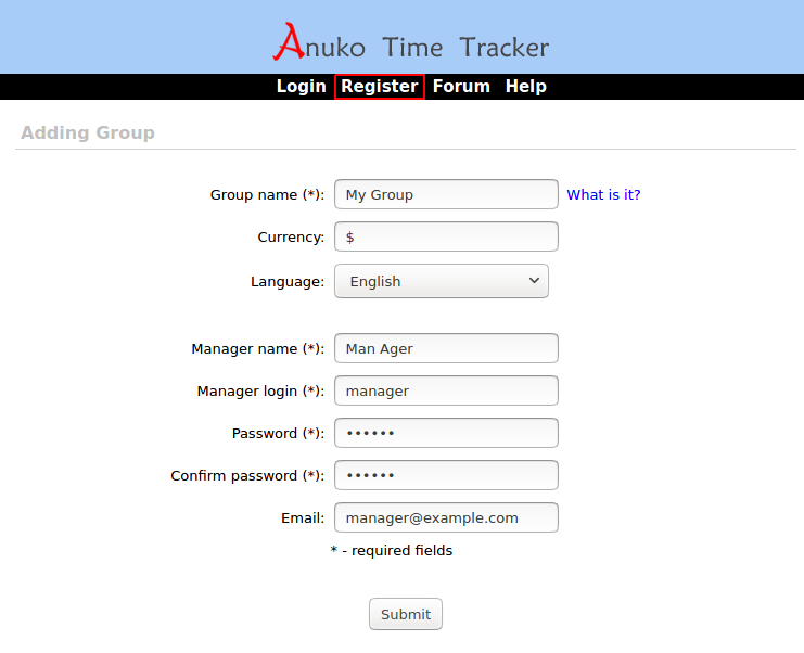 Registering with Time Tracker