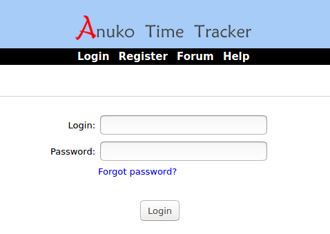 Time Tracker login screen at https://timetracker.anuko.com