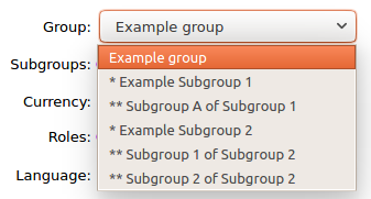 Use group dropdown to select a subgroup