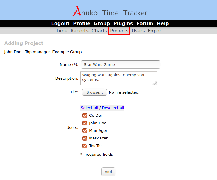 Adding a project in Time Tracker