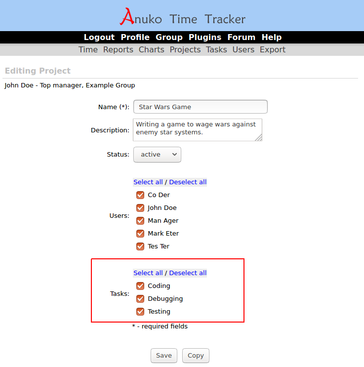 "Associating a project with tasks in ""projects and tasks"" tracking mode"