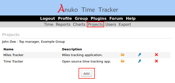 Project list in Time Tracker