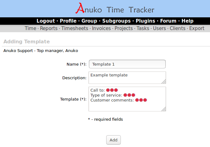Adding a new template in Time Tracker