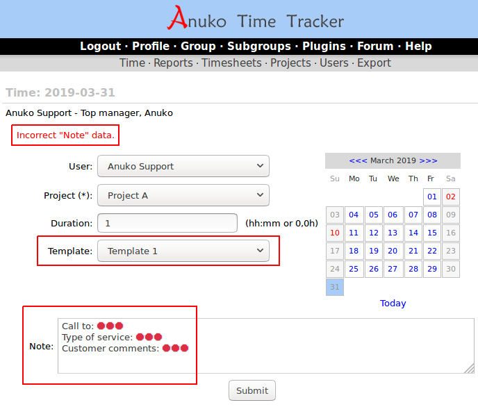 Adding a new entry in Time Tracker using a template