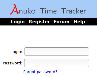Time Tracker login screen