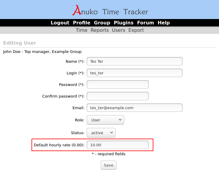 """Default hourly rate"" is user pay rate in ""Time"" tracking mode"