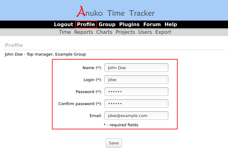 User profile tab in Time Tracker