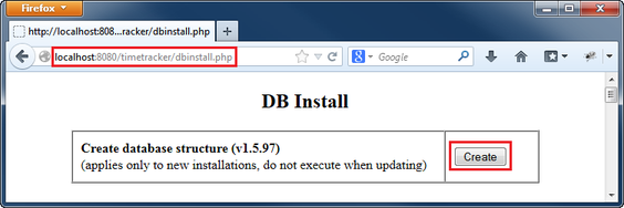 Use dbinstall.php to create Time Tracker database structure