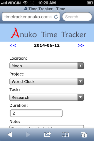 An example of a dropdown custom field for mobile time tracking