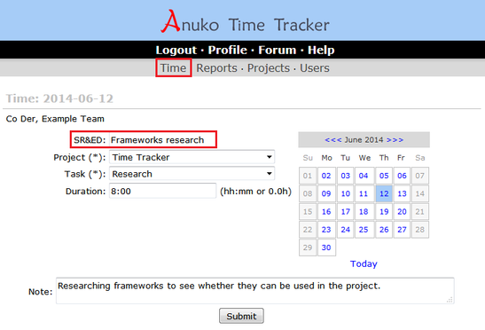 An example of text custom field on time entry page