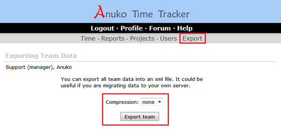 Use the Export tab to export your entire team data to an XML file