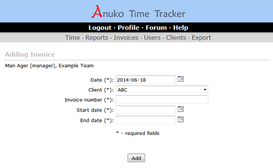 Adding a new invoice in Time Tracker