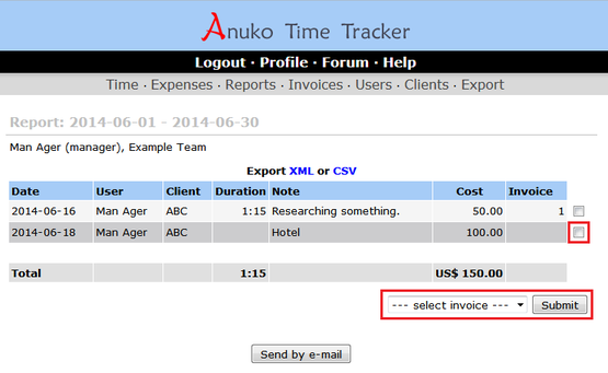 Adding an item to invoice in Time Tracker