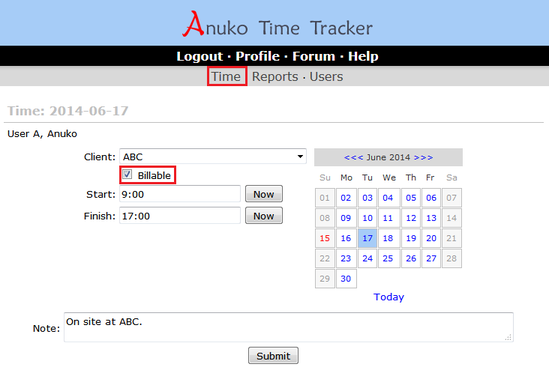 Mark entries billable or not billable on the Time page