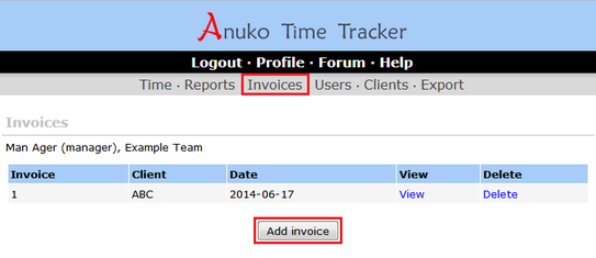 Invoices page in Time Tracker