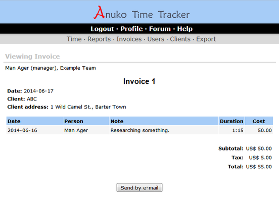 Viewing invoice in Time Tracker