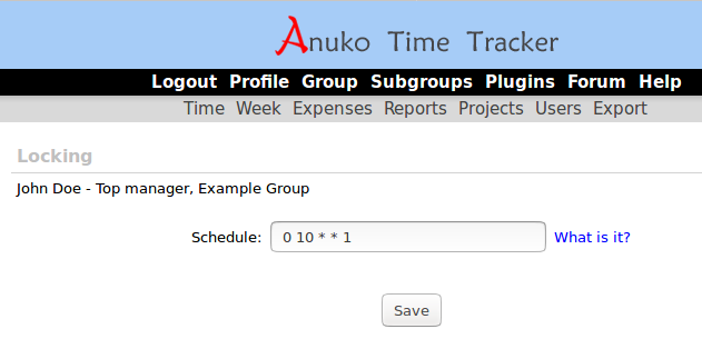 Configuring locking schedule in Time Tracker