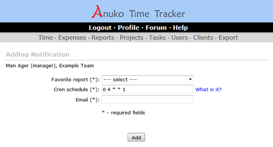 Adding a notification in Time Tracker