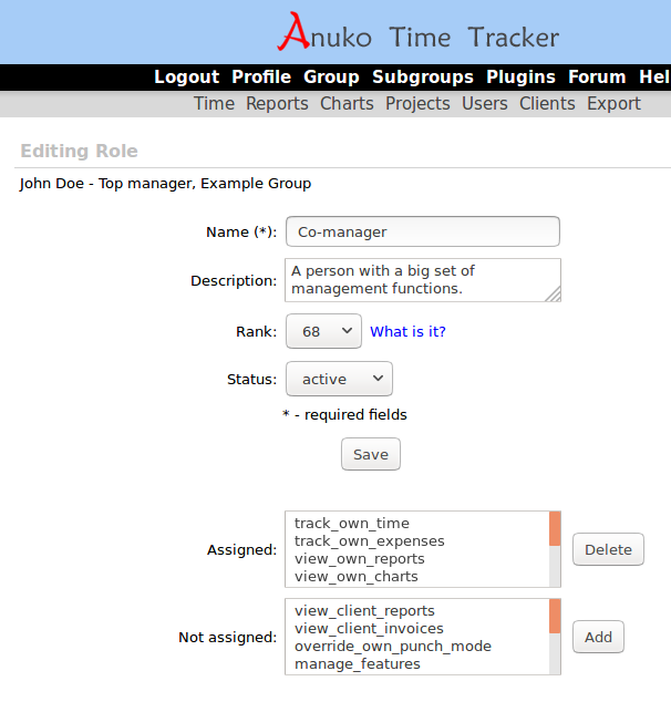 Editing a Co-manager role in Time Tracker