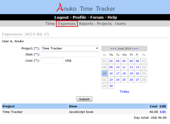 Tracking expenses in Time Tracker