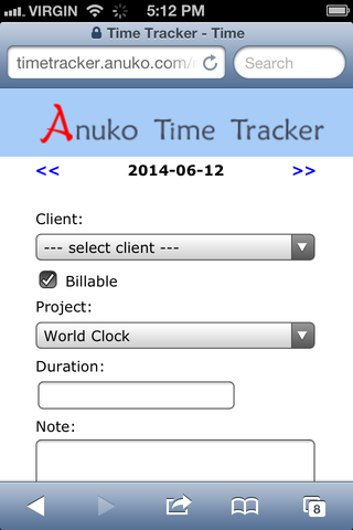 Tracking time on mobile browser for clients