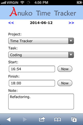 "Tracking time on smartphone in ""projects and tasks"" tracking mode"