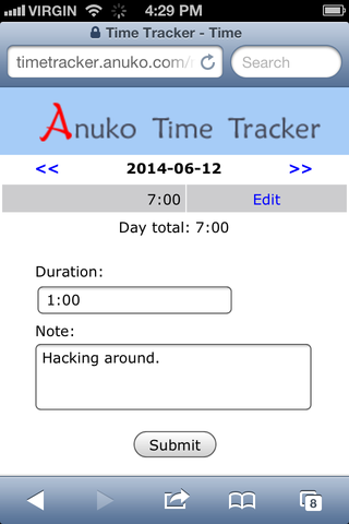 Tracking time on smartphone