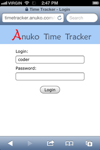 Mobile login page in Time Tracker