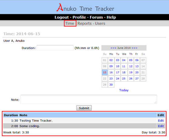 Tracking time with a desktop browser in time tracking mode and duration record type