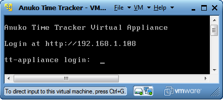 Time Tracker Virtual Appliance console after start