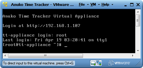 Time Tracker Virtual Appliance - console screen in VMware Player