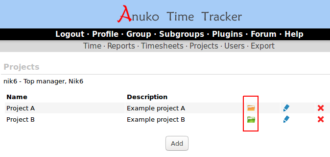 Files column on Projects view in Time Tracker