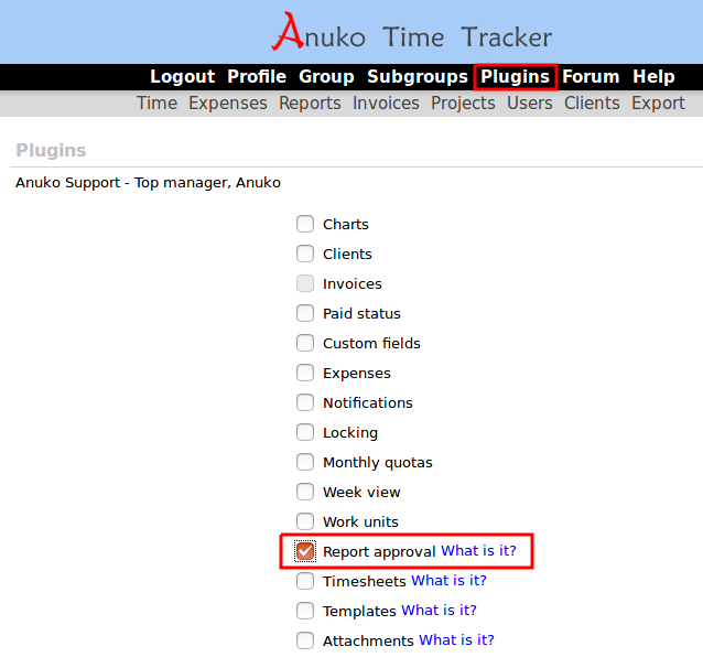Enable Report approval plugin and click Save