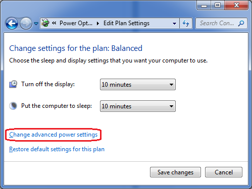Edit settings for a power plan in PC