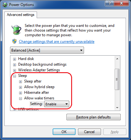 Allowing programs to wake computer from sleep
