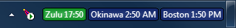 World Clock in Windows 7 taskbar with Zulu time and two other clocks