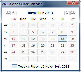 World Clock calendar showing 1 month