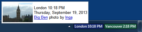 Photo of Big Ben showing in tooltip for the London clock