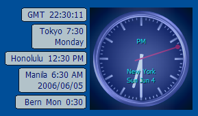 Examples of date and time formats for World Clock