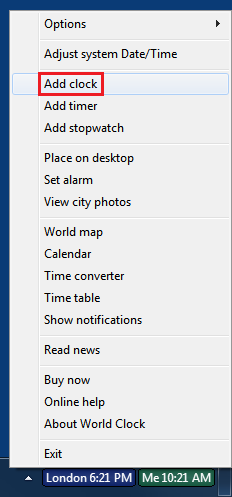 Right-click on a taskbar clock to bring up the menu