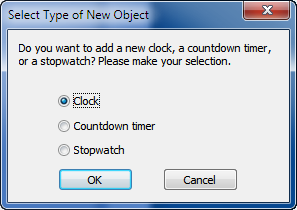 To add a new clock select the Clock option and click OK
