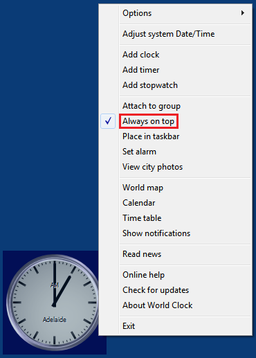 """Always on top"" right-click menu option for desktop clock"