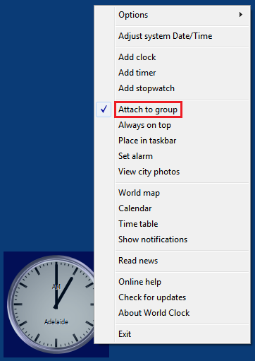 "Use the ""Attach to group"" menu option to pin desktop clocks to each other"