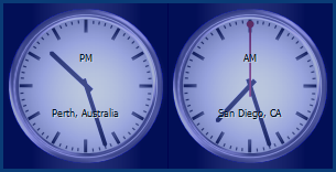 World Clock running on desktop with 2 mechanical clocks