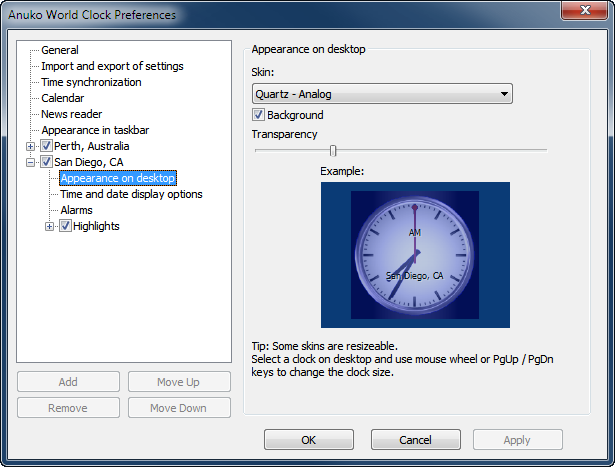 Appearance on desktop page in World Clock Preferences for San Diego clock
