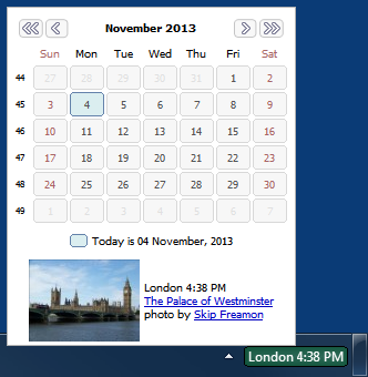Calendar can be displayed in World Clock tooltip and is styled differently