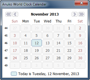 World Clock Calendar showing one month