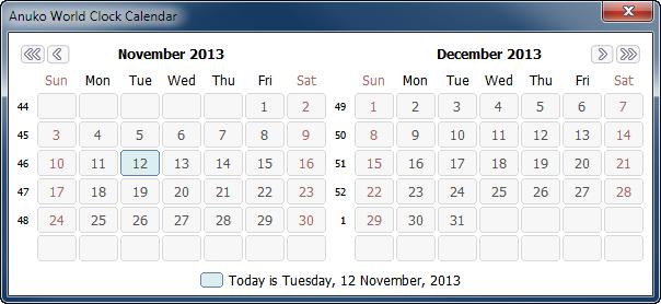 World Calendar.Using World Clock Calendar